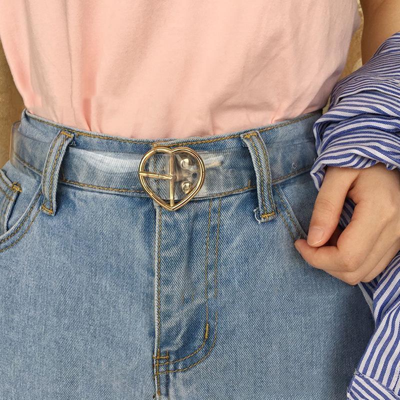 Women's Cute Transparent Belt Female Heart Buckle Waist Sweet Belt Fashion Waistband Ladies Jeans Dress