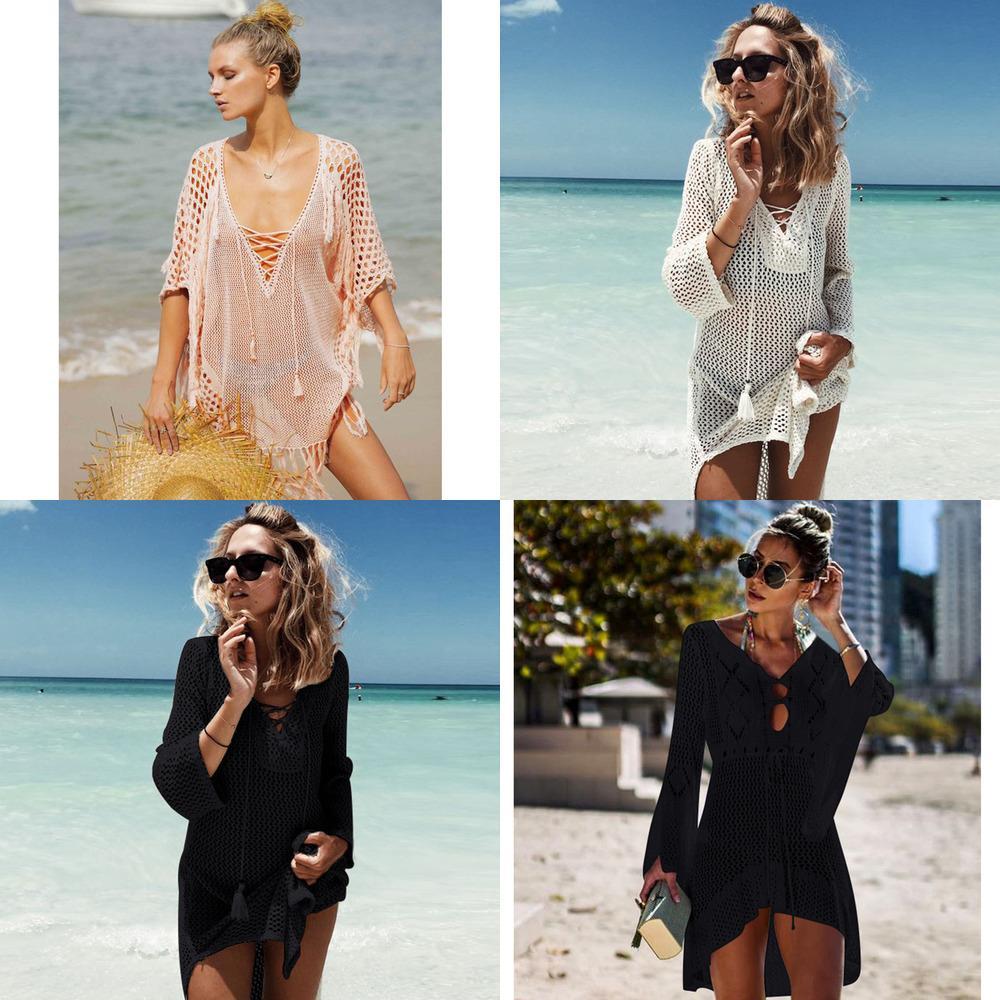 Nouveau tricoté housse de maillot de bain femme maillot de bain de bikini couvre la robe de plage crevée robe de plage Tunics Tassel Tunics de baignade Couvertures de baignade Couvre-ups Beachwear Q1222