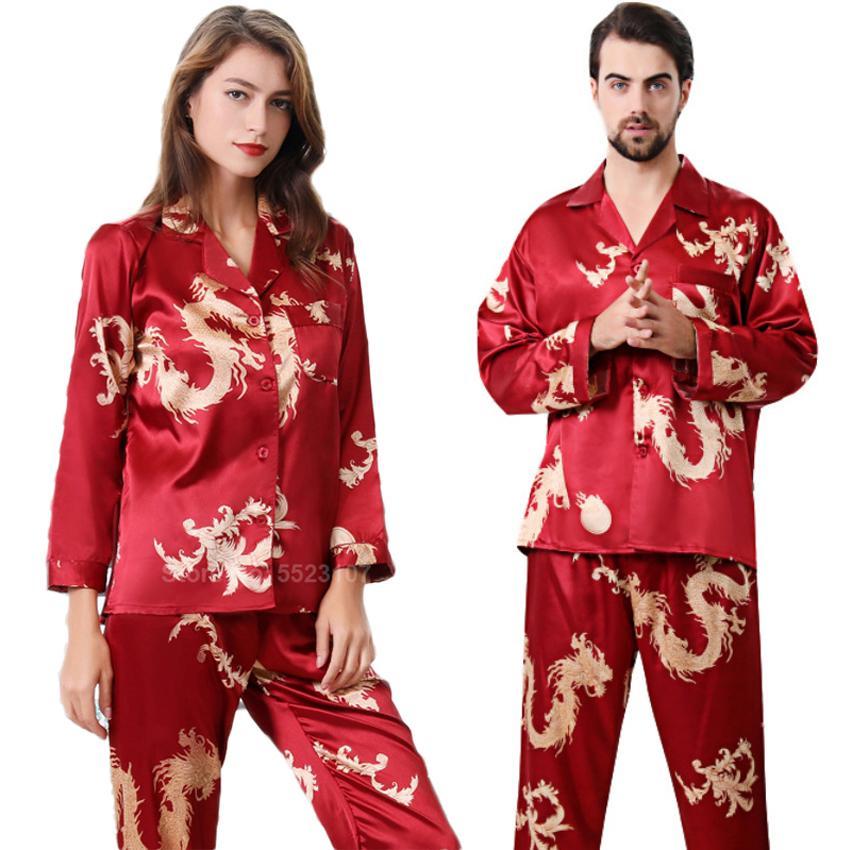 Femmes en satin de soie pyjamas 2pcs pleine manches Pantalon style Nouvel An chinois dragon Imprimer Pajamas Salon Hommes Couple PJs 201009
