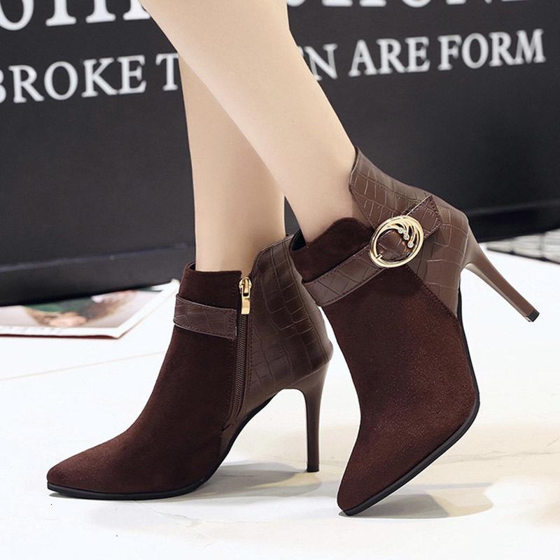 الكعوب النساء 2020 الشتاء المرأة فائق عالي أحذية الكاحل رقيقة السيدات أشار تو أحذية botines الأسود موهير N7764
