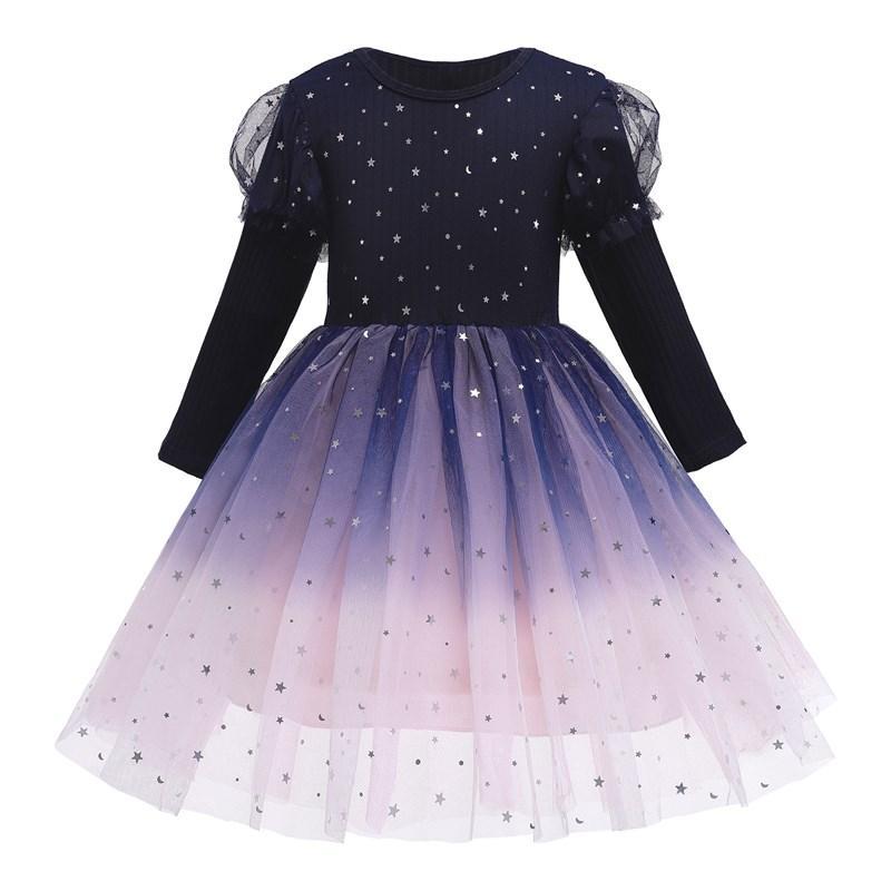 Cielo estrellado de la moda de manga larga caliente de las niñas Fantasía partido formal de la princesa del cumpleaños del invierno cosplay vestido largo Frock niños