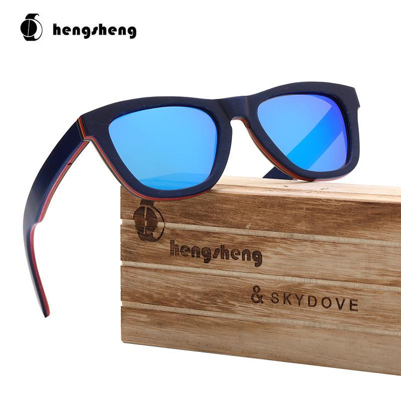 Brand Polarized Blue Женщин Солнцезащитные очки Skydove Designer Goggle с деревянными мужчинами Очки Скейтборд Sun Sport Qwsbj