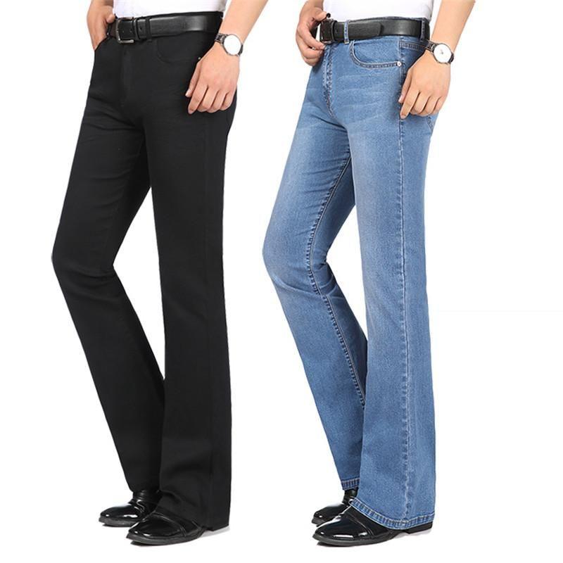 2020 yaz yeni erkek moda ince kot orta bel streç ince mikro çan pantolon çok renkli büyük boy küçük çan pantolon