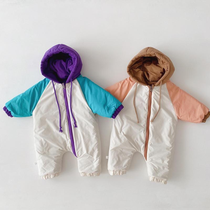 Зимняя теплая толстая одежда младенца младенца рождение мальчик девочка комбинезон двойной сторонник малыша вниз куртка с капюшоном комбинезон нарядов 201026