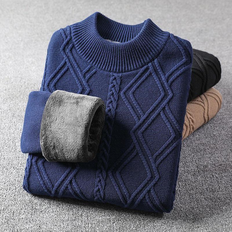 Plus Velvet Mock Neck Sweater Men Korean Clothes 2020 Winter New Knit Pullover Warm Flannel Lining Sweater Jumper Sueter Hombre