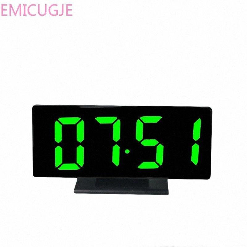 USB Allarme digitale via cavo Table Desk Clock Breve LED specchio orologio multi-funzione Snooze tempo di visualizzazione luce di notte LCD Desktop CAWb #