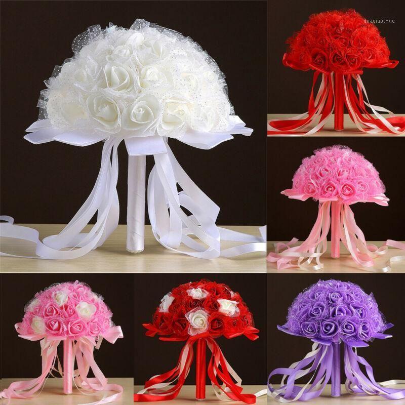 Декоративные Цветы Венки Искусственные Букет Розовый Цветок Высушенная Свадьба Невеста Холдинг Лента Цветочный декор1