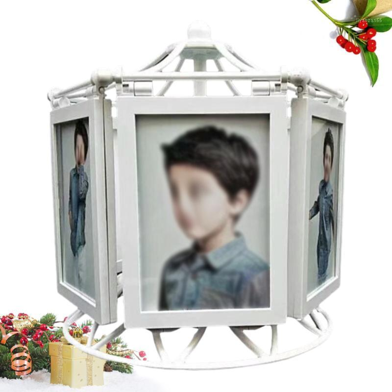 Rotierender musikalischer Riesenrad Fotorahmen 5-Zoll-Windmühle-Bilderrahmen-Geschenk für Familien-klassische Wohnkultur (weiß) 1