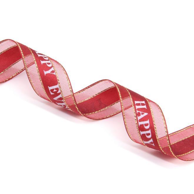 2.5 cm de ancho Cinta de cumpleaños Gauze de nieve con cartas de feliz cumpleaños Gauze de nieve con regalo de vacaciones Ribbon Red Rosa Beige