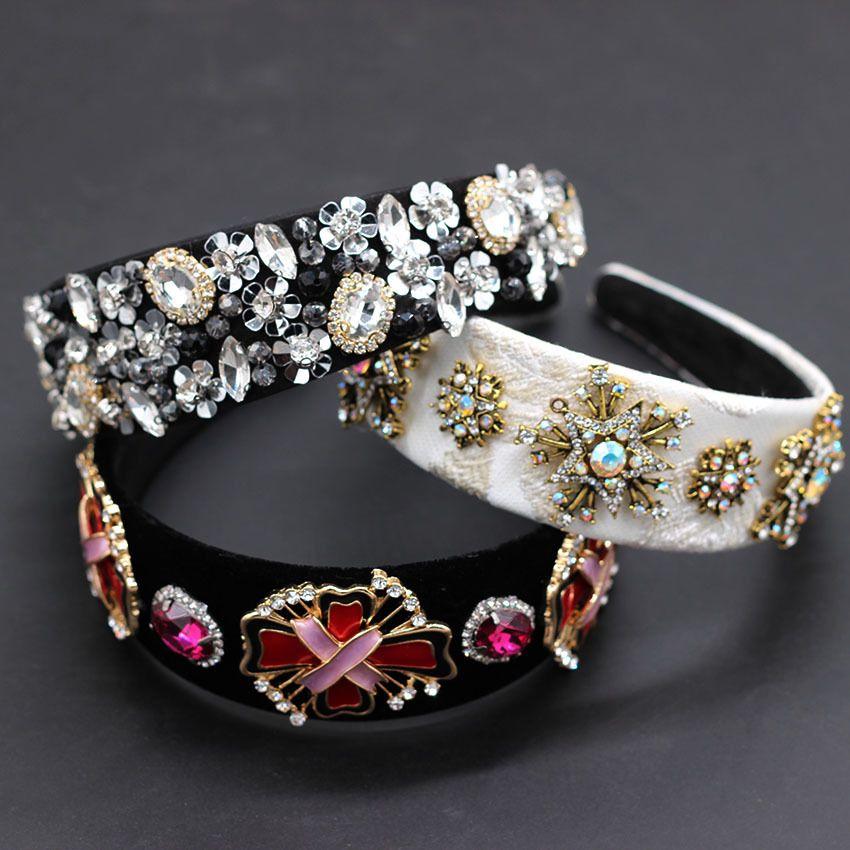 Baroque fashion reception luxury color rhinestone personality headband colored rhinestones geometric snowflake headband 883 J0121