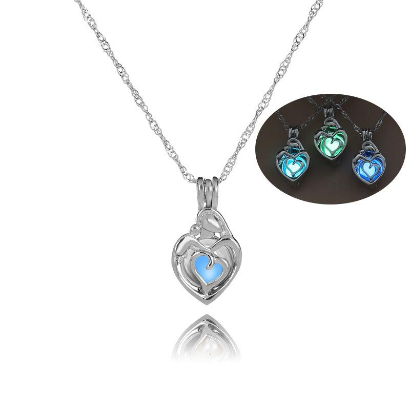 Romantic Heart Pendant Necklace Luminous Transit Bead Necklaces Creative Party Decoration Jewelry Gift For Mother's Day