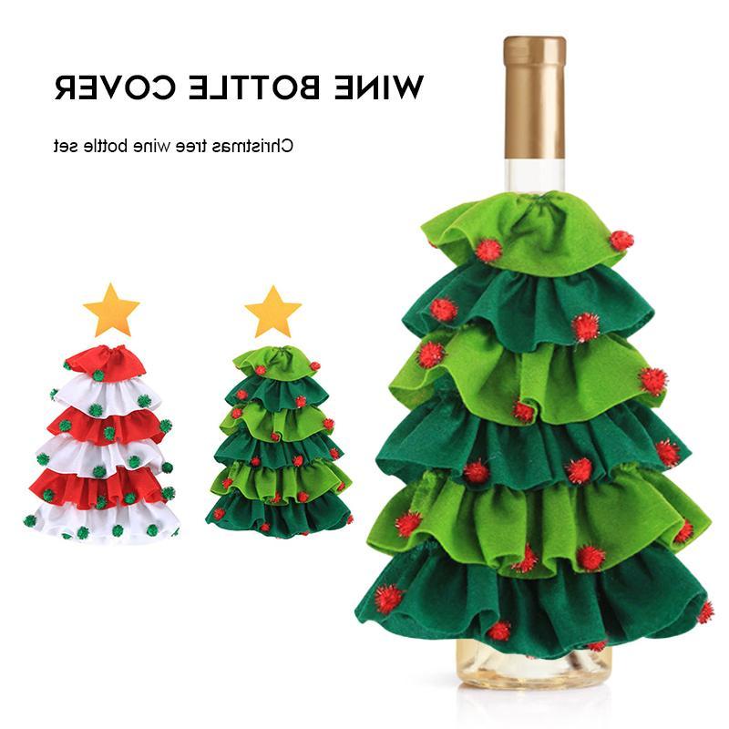 Süslemeleri Ev Yeni 1 ADET Yıl 2020 Noel Ağacı Şekilli Kırmızı Şarap Şişesi Kapak Noel Baba Noel Yemek Masası Dekor