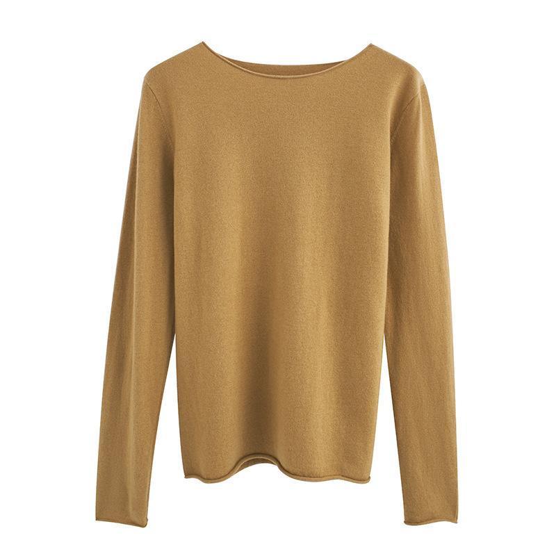 100% lana delle donne maglia maglione roll bordo Pullover Solid