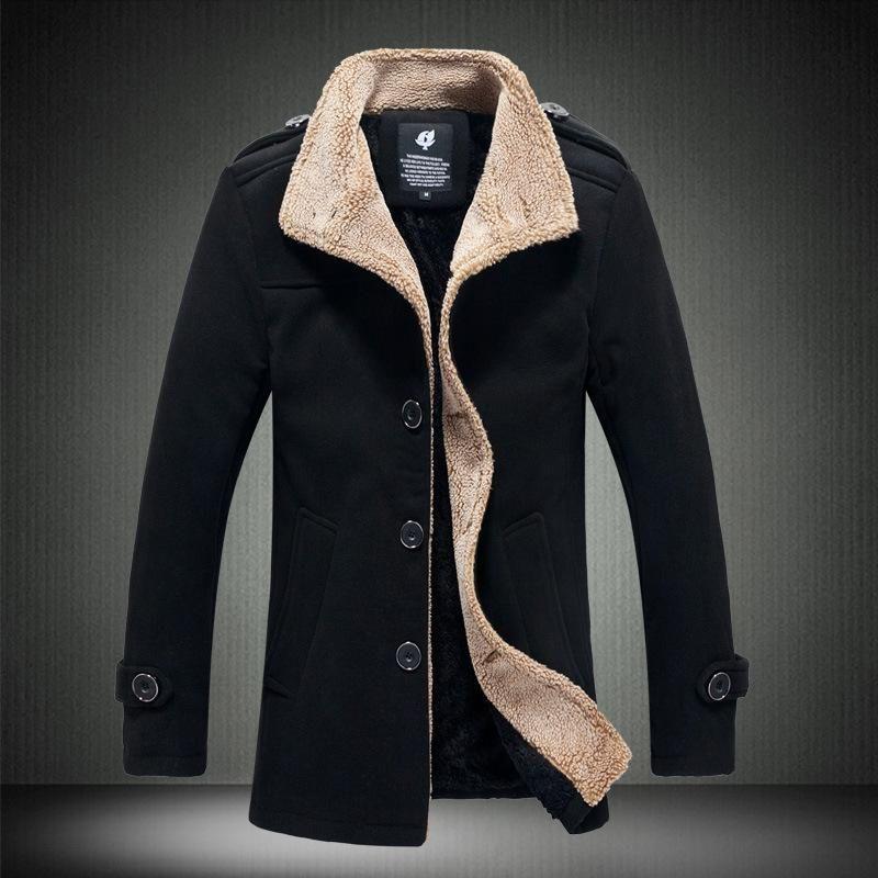 Men Stand Lead Lamb Worsted Windbreaker Jacket Male Navy Blue Long Fund Loose Coat Male Warm Thicken Outwear Turn-down Collar