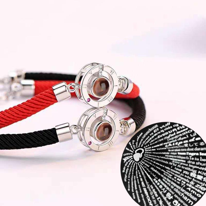 Chinese Classic Red Rope Adjustable Bracelets New Arrival Charm 100 languages I love you Projection Bracelets Lucky Jewelry Gift