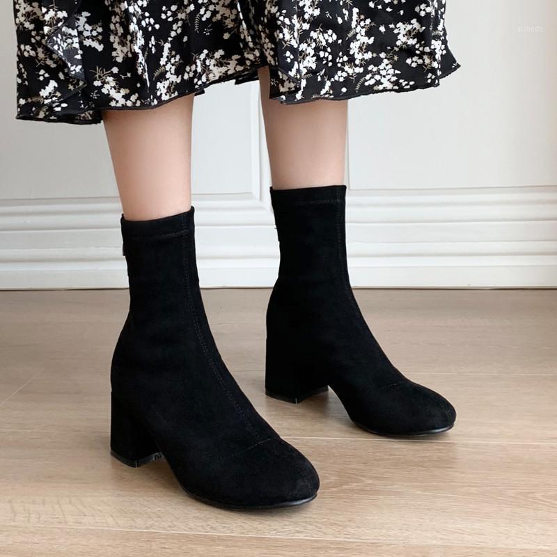 Stivali YQBTDL Autunno Stretch Suit Sock Sock Block Blocco Tacchi alti Chunky Stivaletti neri Donna Crystal Zipper Elastic Stivaletti Shoot1