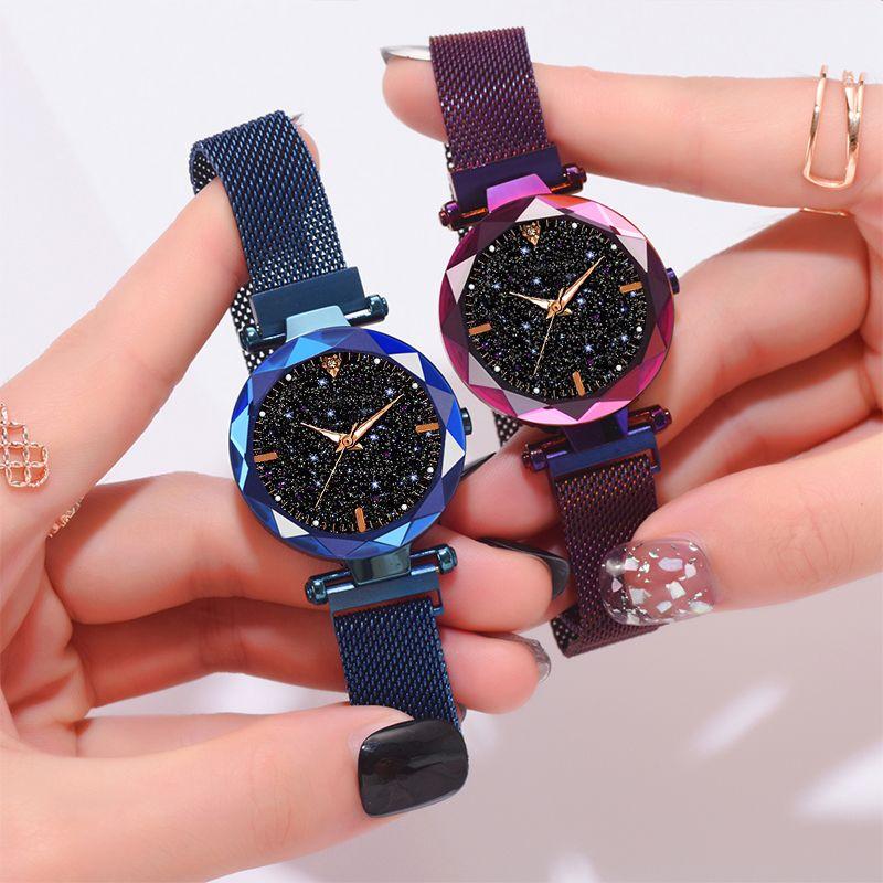 Moda Mujeres Starry Sky Magnet Watch Ladies Rhinestone Quartz Watch Estudiantes Mejor regalo Casual Reloj a prueba de agua Reloj hembra