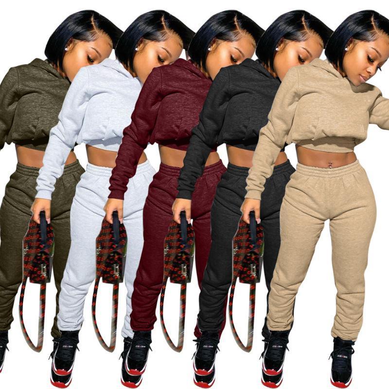 Sweatpants Bayan Joggers Set Düz Logo 2 Parça Kırpma Üst Eşofman Setleri Kadınlar Ter Pantolon Set Güz İki Parçalı Jogger Hoodie ile