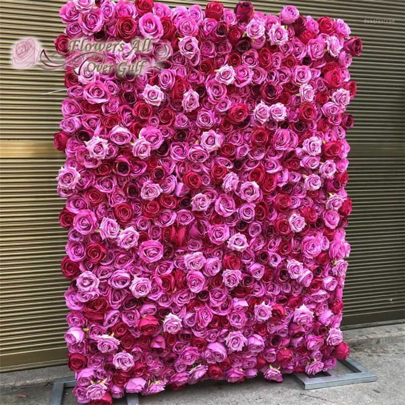 Dekorative Blumen Kränze 3D Künstliche Wandplatte Hochzeitsdekoration Gefälschte Rose Backdrop Läufer Home Decor1