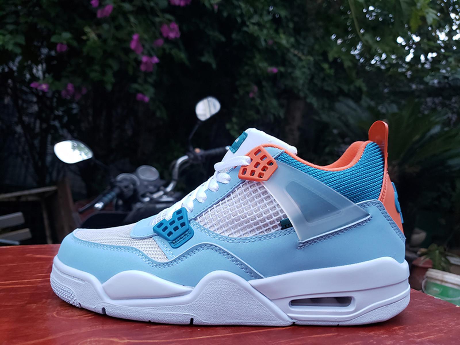 Оптовая продажа нового профсоюза 4 мужская баскетбольная обувь синий розовый 4S La Mens Trainers спортивные кроссовки размером 7-12