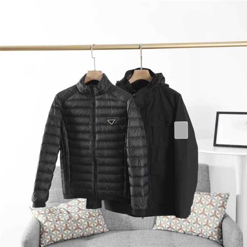 Мужские куртки зима вниз Две пьеса Набор Casual Men Ветровка Куртка с капюшоном Новых спортивного Outwear пальто 3 цвета Asain Размер M-5XL