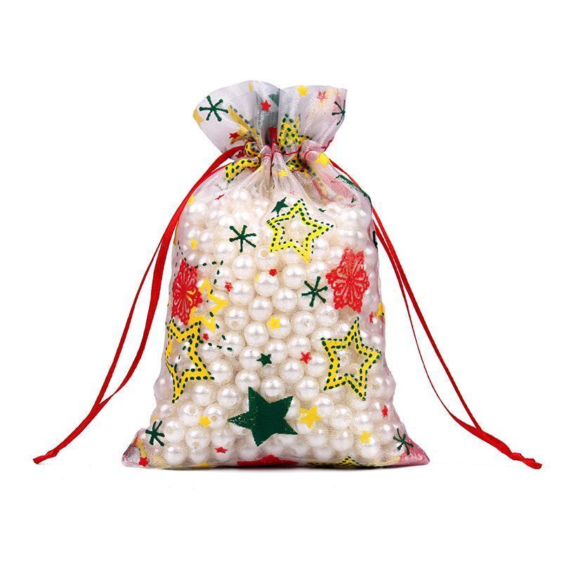 Горячая продажа 2020 Рождественский подарок сумку луч рот Сочельник конфеты мешок снежинка лося органза бронзируя украшения