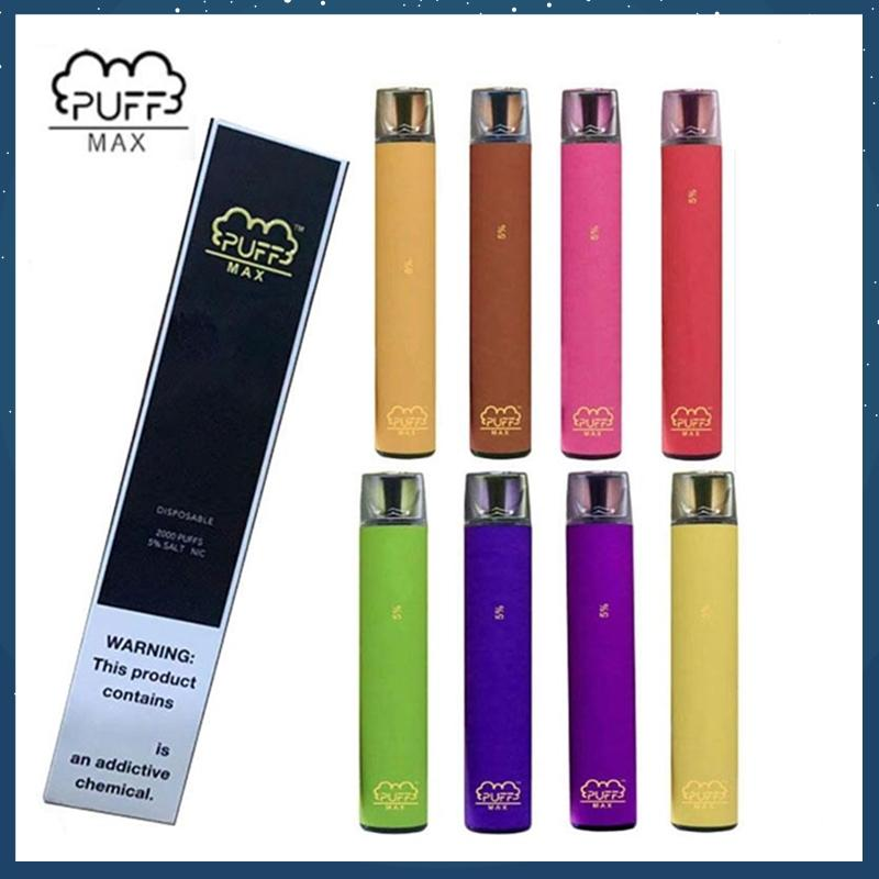 Puff Max monouso Vape Pen Dispositivi 2000Puffs preriempita vapore Bar diretto Draw dispositivo Cartridge System Pods vaporizzatore vs BANG XXL Puff più