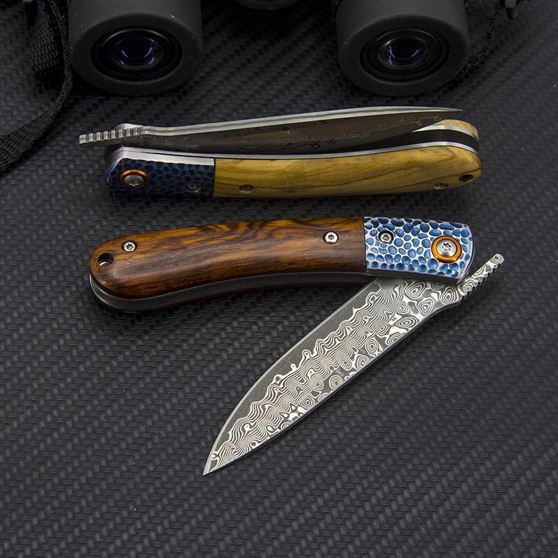 Samsend Damaskus Klappmesser Handgefertigte exquisite Griff Laser Steel Head Outdoor Camping Selbstverteidigung EDC-Werkzeug