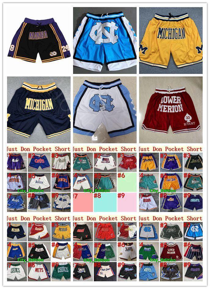 NCAA Kuzey Carolina Tar Topuklu Basketbol Şort Sadece Erkek Don Michigan Wolverines Siyah Mamba Aşağı Merion Lisesi Cep Pantolon