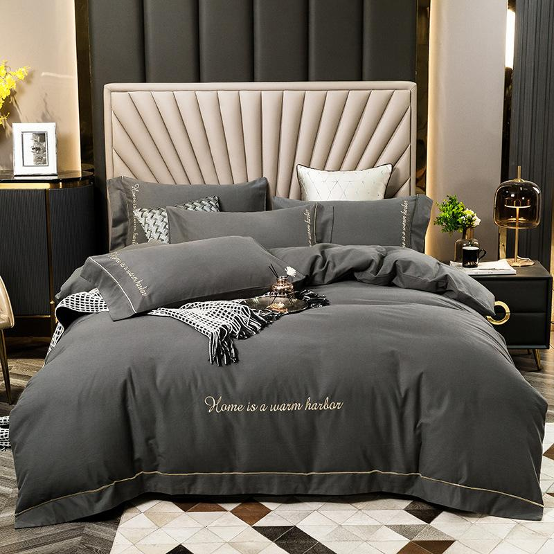 100% Cotton Bedding Sets Solid Bed Sheet 4 Pcs Duvet Cover High Quality Bedding Supplies In Stock