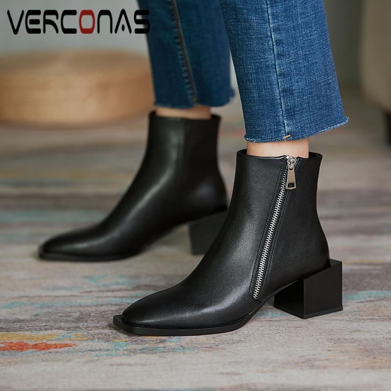 Verconas outono inverno botas de tornozelo para mulheres grosso saltos sapatos mulher moda conciso zipper escritório senhora botas de couro genuínas