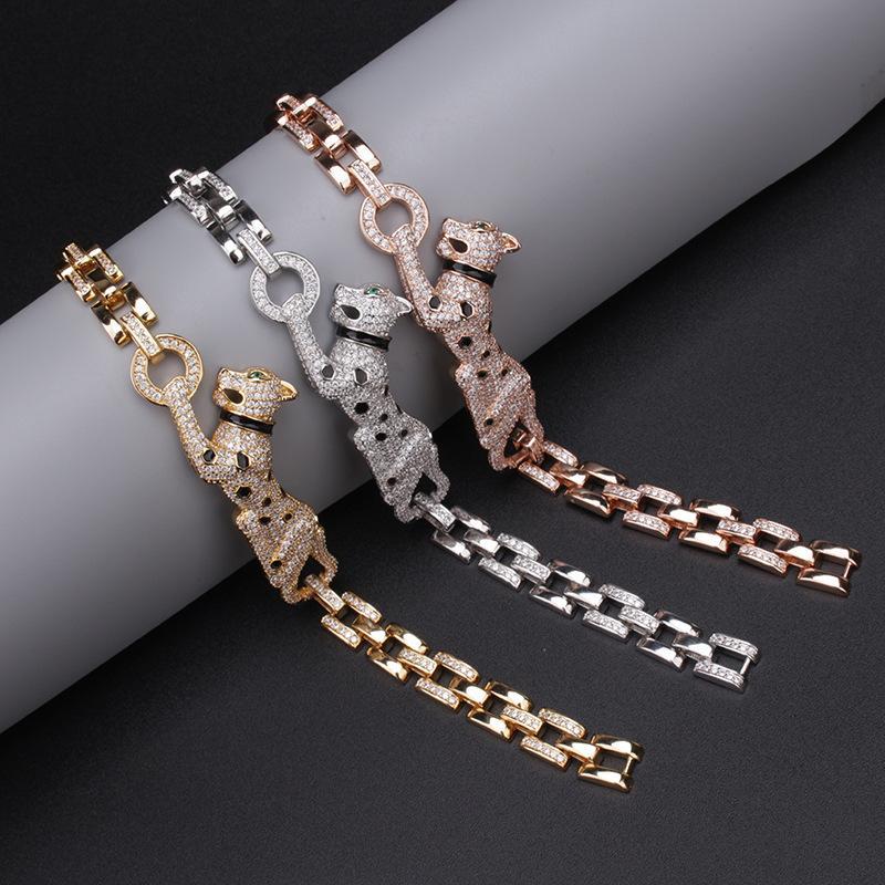 Personality diamond leopard domineering bracelet fashion jewelry trend leopard print chain bracelet mens bracelets