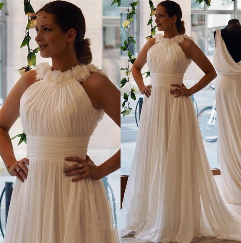 Simple White Chiffon Evening Dresses A Line Sleeveless Cheap Long Country Beach Garden Women Formal Party Gowns Prom Dress With Trains 2021