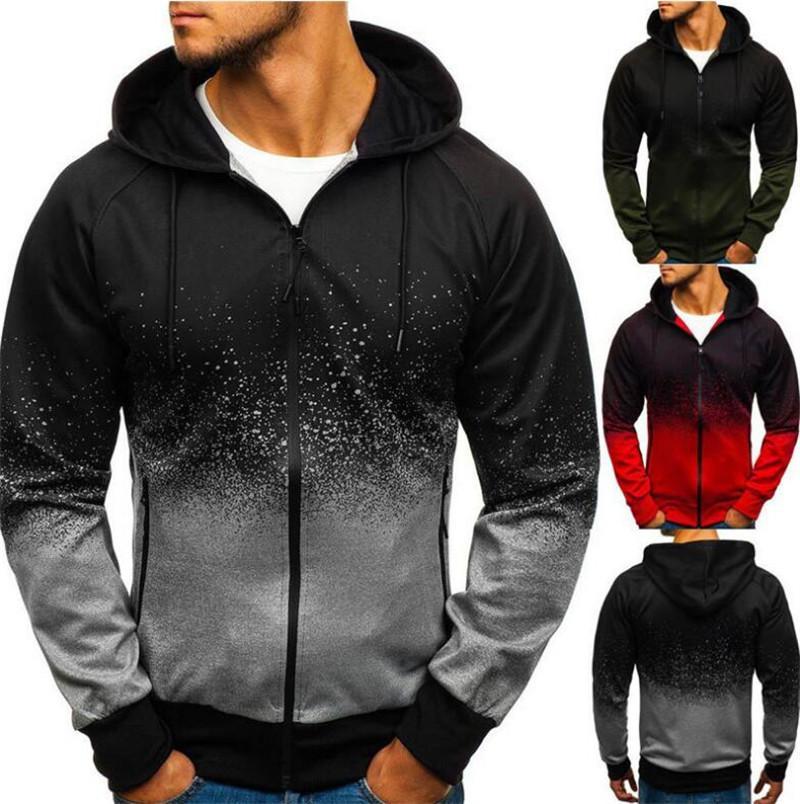 New Men Gradual Change Jacket Men Gradient Hoodie Long Sleeves Spring Autumn Mens Casual Shirts Clothing For Man Shirts Male Jacket M-3XL