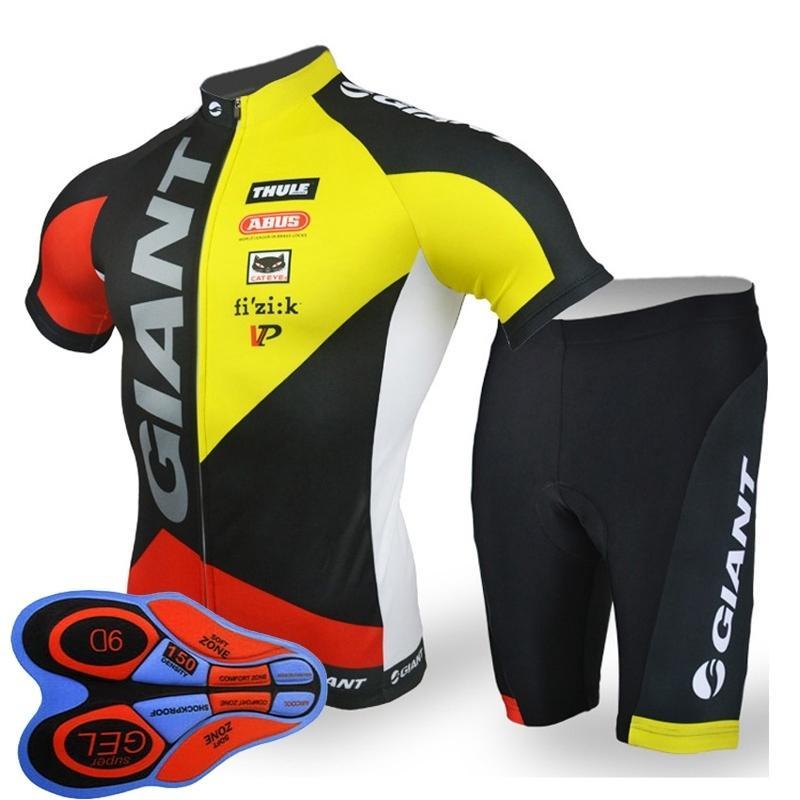 Sleeve Verão gigante Equipe Curto Ciclismo Jersey 9d Uniform Set Men respirável de secagem rápida Corrida Vestuário Mtb bicicleta Sportswear Y082105