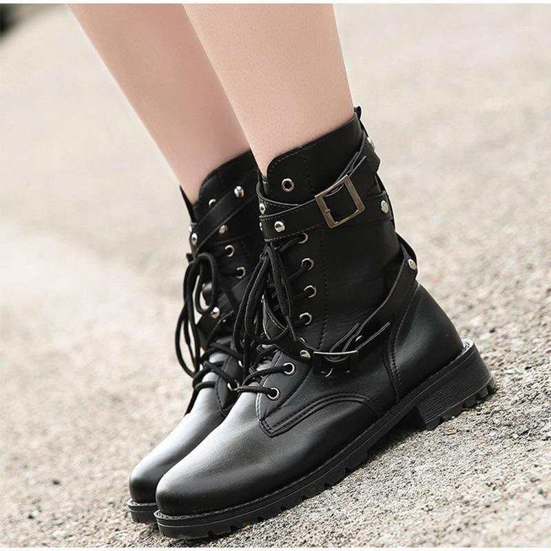 Çizmeler kadın ayak bileği PU deri sonbahar kadın ayakkabı moda 2021 motosiklet lace up toka kayış serin sokak kadın ayakkabı1