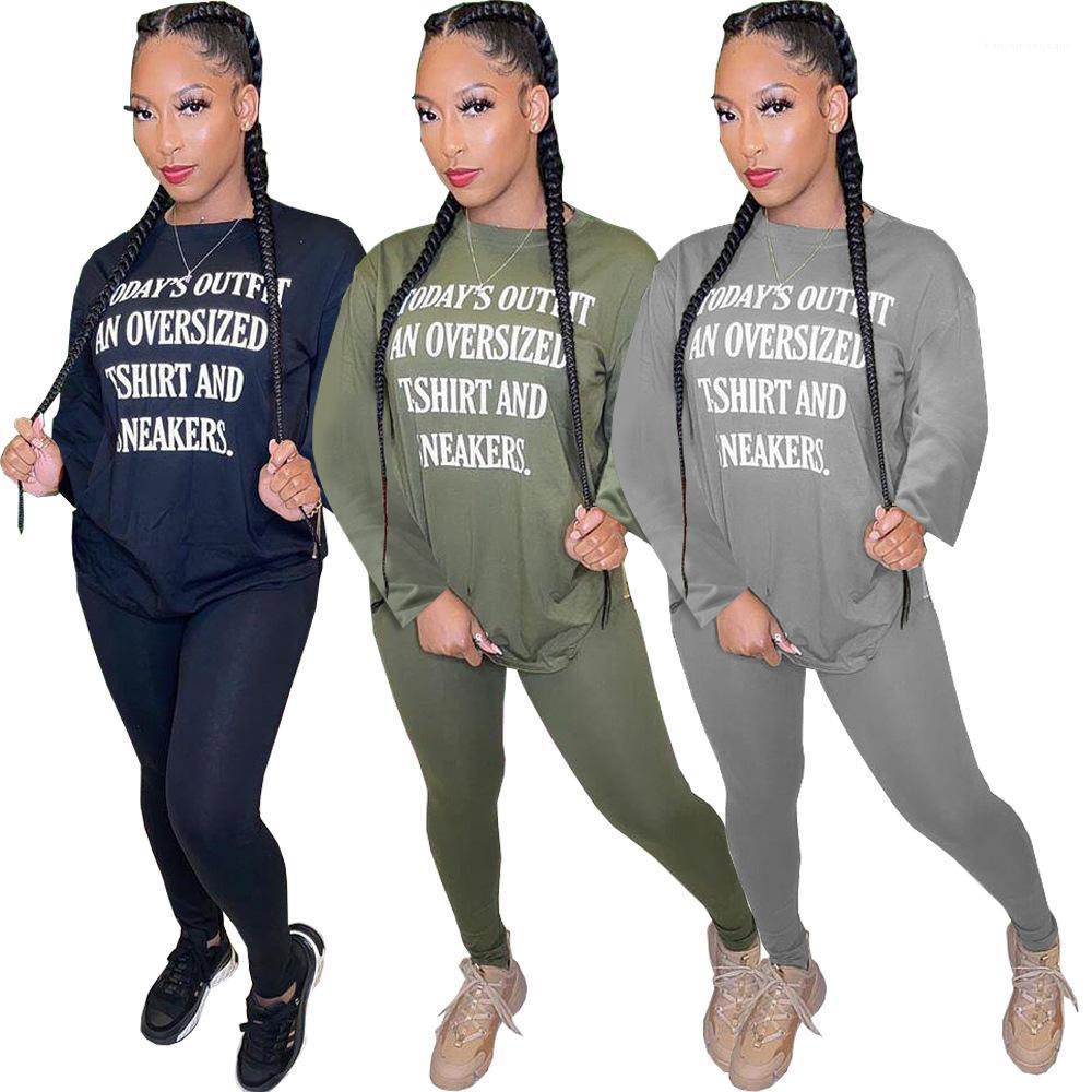 Print Sweatshirts Pants 2PCS Set Solid Color Fashion Women Designer Tracksuits Woman 2 Piece Outfit Autumn Letter