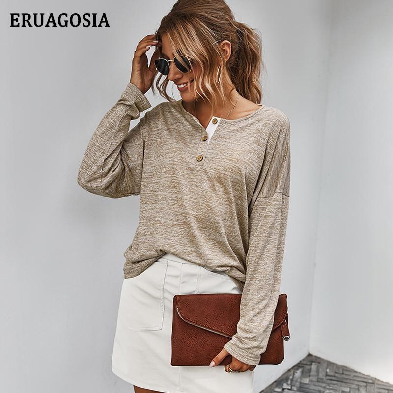 Eruagosia Solid Casual Chemisier Femme O Col Butons Dames Bureau Chemises à manches longues Femme Tops Spring Automne Blouses