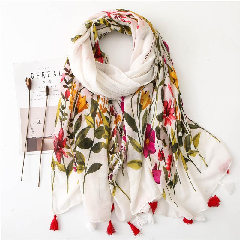 Sparsil Women Spring Cotton Tassel Shawl Floral Voile Korean Style Long Pashmina Wrap Thin Sun Protection Summer Soft Scarf Y201007