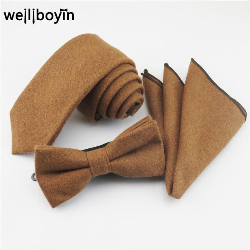 Set di cravatta del collo 100% Ties di lana Ties Bowtie Pocket Quadrato Marrone Fazzoletto per uomo Stretto per uomo Vestito Gravata Cravate Pour Homme1