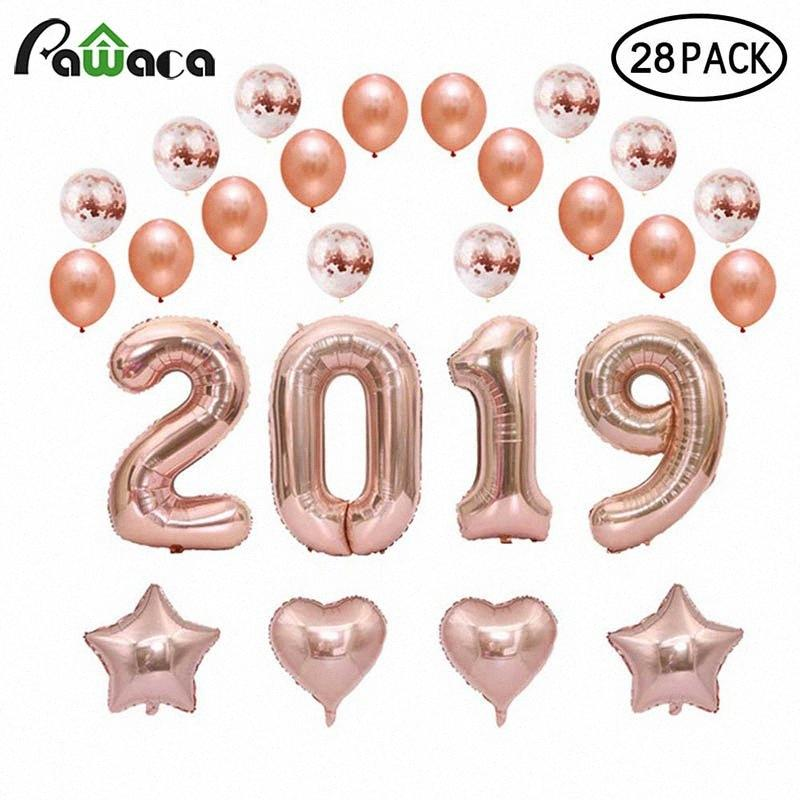 28pcs Confetti Latex Dekorationen Luftballons Rose Gold, Weiß Folie BalloneConfetti Kugel Dekor für Hochzeit, Geburtstag, Weihnachten 0i4w #