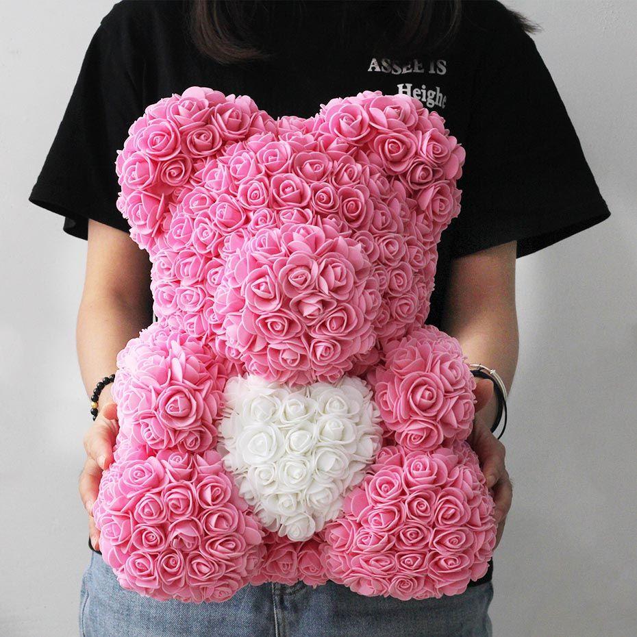 25 cm 40cm Seifenschaum Rose Bär Teddybär Rosa Künstliche Blume Neujahr Geschenke Für Frauen Valentinstag Geschenk Y0106
