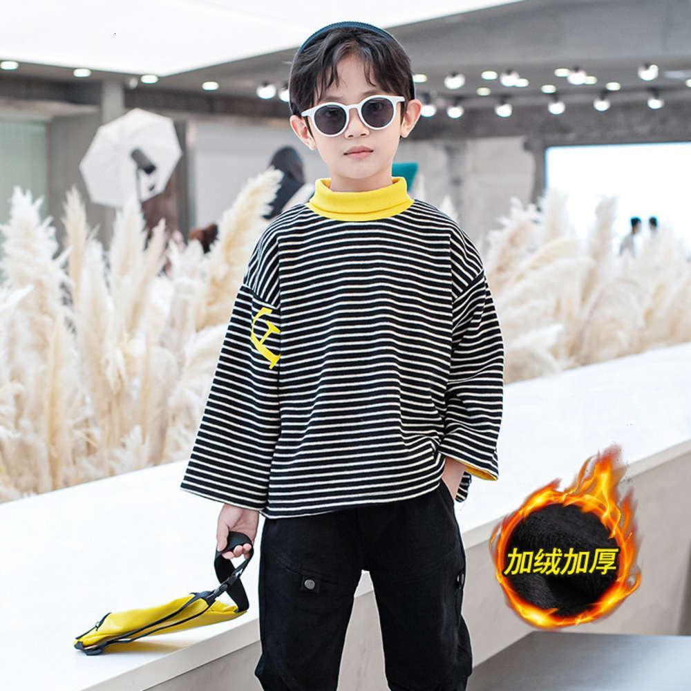 Maglione dei ragazzi autunnali 2020 e nuovo indossare in inverno Peluche Aspettata Scuola media Abbigliamento per bambini Sottiscarimento alto Collare