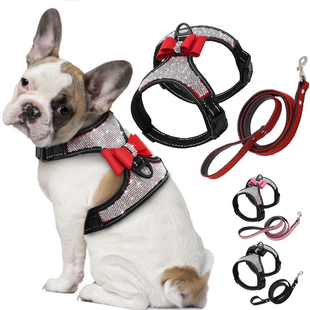 Fashion reflexivo diamante bling strass bowknot cão chicote de cachorro nylon pet coleira pequena cão médio harnesses colete pet suprimentos D30 201104