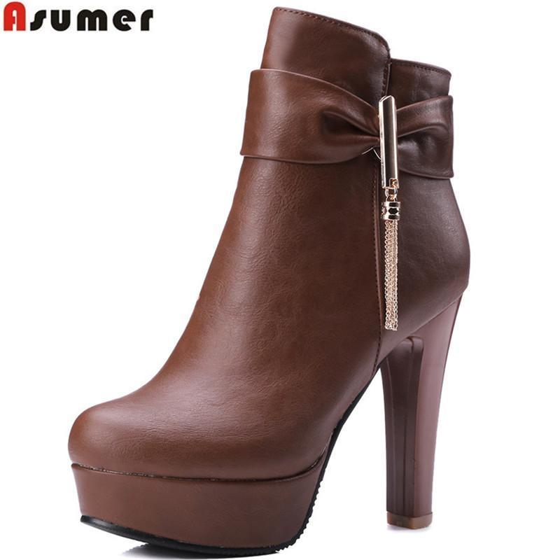 Asumer 2020 Automne Hiver Femmes Bottes Noir Blanc Brown Fermeture à glissière Dames Bottes Super High Highkle Big Taille 33-45