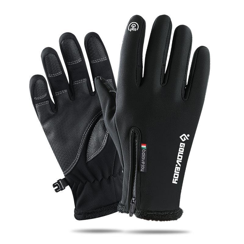 Hivernales gants imperméables fermeture éclair écran tactile hommes plein de doigts et les femmes vélo coupe-vent et des gants de sport chauds 2018053637