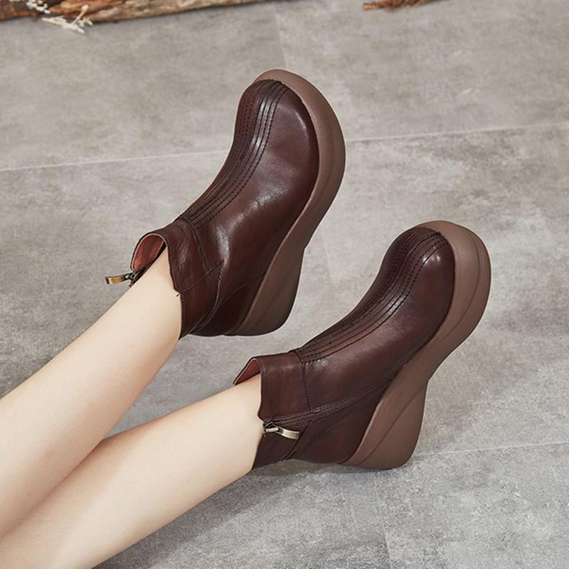 botas cortas mujeres 2020 nuevo invierno retro de cuero de espesor inferior lateral botas de las mujeres ocasionales de la cremallera de arranque suave punta redonda mujeres inferiores