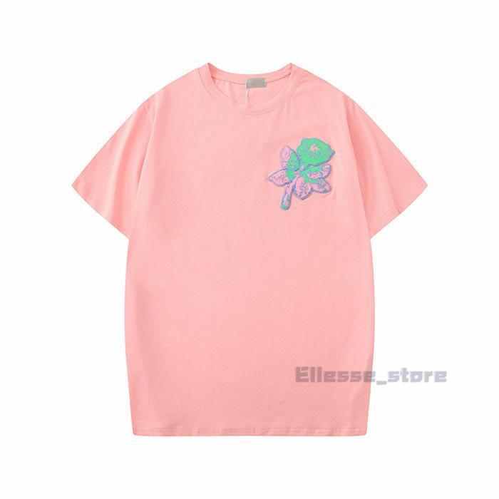 20ss 여름 새로운 2020 Womens 디자이너 망 티셔츠 꽃 티셔츠 패션 장미 자수 짧은 소매 레이디 티 캐주얼 옷