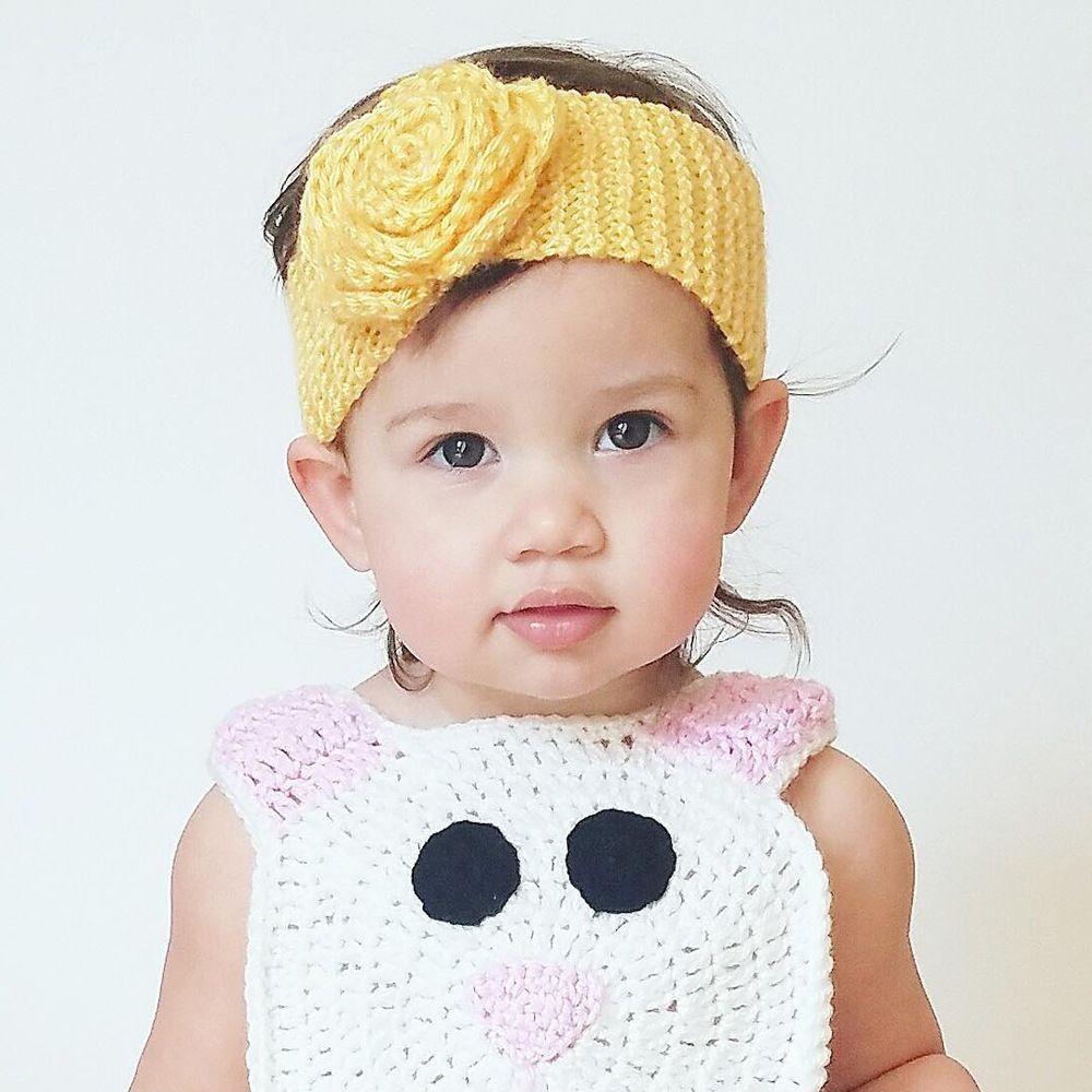 Linda caliente Llanura de punto de ganchillo camelia flor de los cabritos del invierno del bebé de la venda Headwear tejida de lana Sombrero Accesorios para el cabello de 1 año