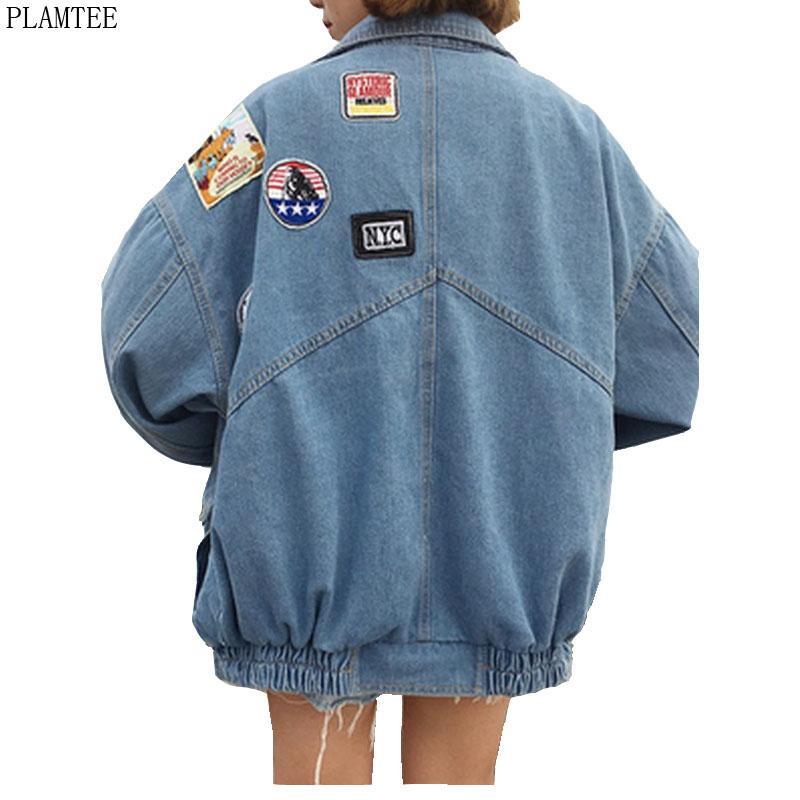 Harajuku джинсовые куртки пальто женские патч дизайн с длинным рукавом куртка бомбардировщик повседневная свободная касако феминино винтаж Jaqueta Feminina T200319